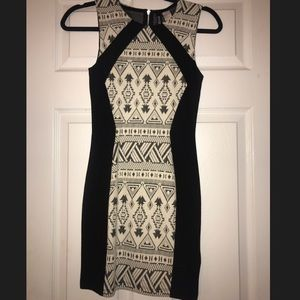 Tribal print black dress NWT
